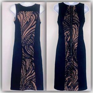 BCBGMaxazria Dress sz M Blue Beige Lace Leona AZ30